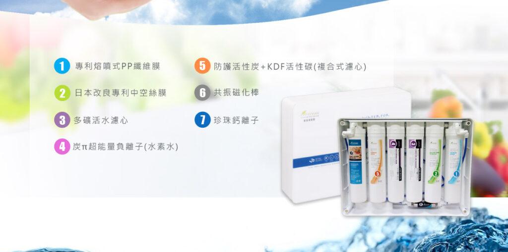 麗富康能量治水機擁有 7道濾心